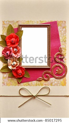 empty photo frame border background Wedding or birthday or xmas paper