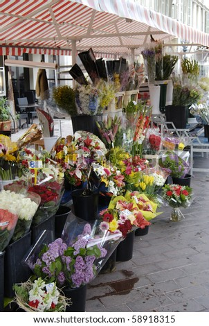 Flowers for sale on market stall in Nice. Cote d'Azur. France