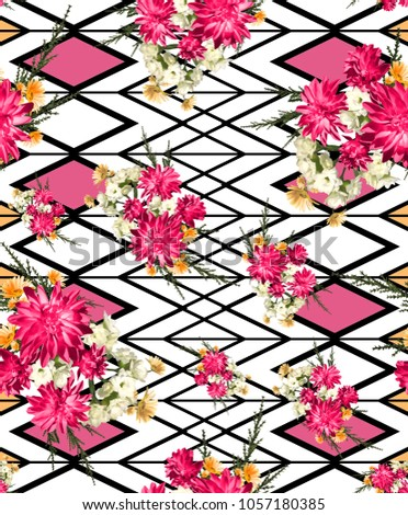 flowers geometric fashion fabric pattern  #1057180385