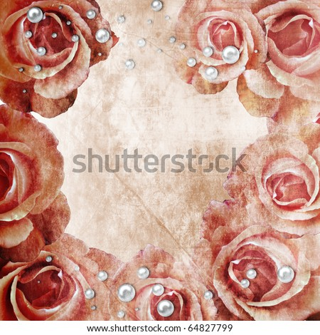 Flowers grunge background  with pearls