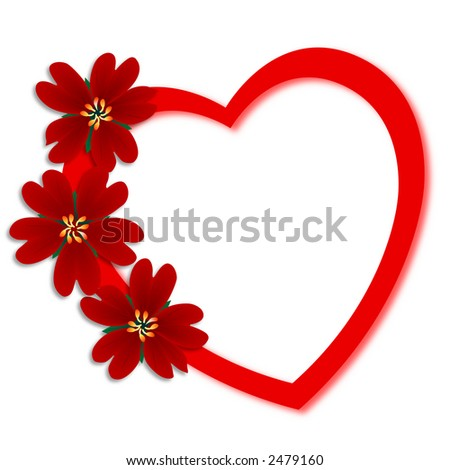Flowers heart valentines day greeting card