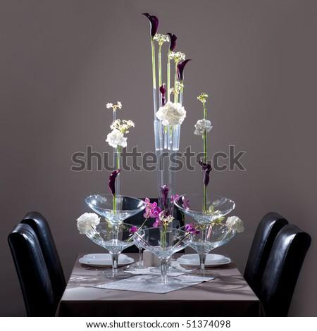 Flowers (Hydrangea, Orchidaceae, Kala) arrangement on the table