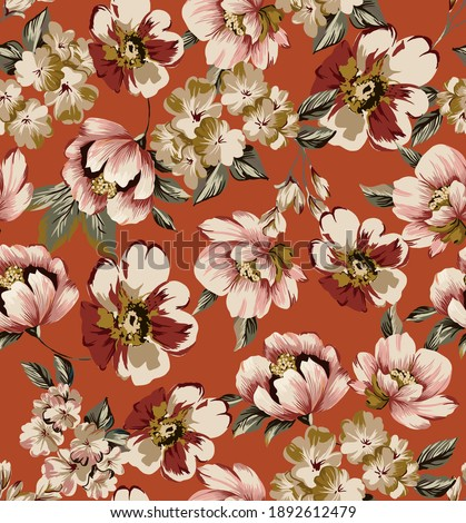 Flowers illustration abstract art colorful seamless pattern fabric print texture, with peony, cherry blossoms, branch cherry blossoms elements and vintage leaves on orange background.