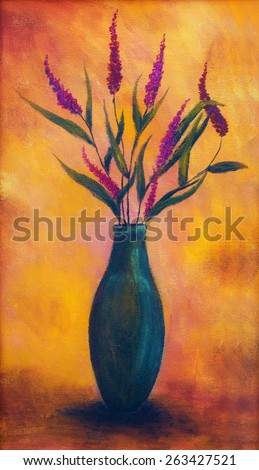 Flowers in a vase, dryed up, on bright orange background, oil painting, color painting