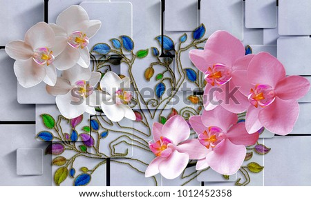 Flowers in abstract square background. Photo wallpaper for interior. 3D rendering.