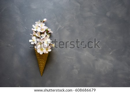 Flowers in ice cream cone on cement background #608686679