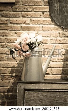 Flowers in metal vase,vintage color. #265124543