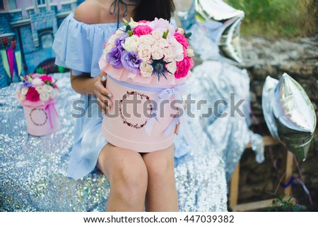 flowers in the hat box castle blue dress girl hands manicure knees silver pink carton disney