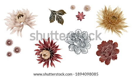 Flowers japanese oriental asian art illustration set isolated for repeated pattern seamless texture, with peony flower colorful, cherry blossoms, oriental leaves on white background.