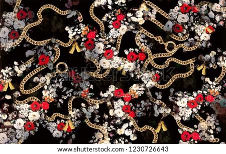 flowers leopard  baroque chain pattern