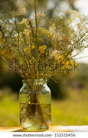 flowers meadow in vase with water in a sunny day on an indistinct background