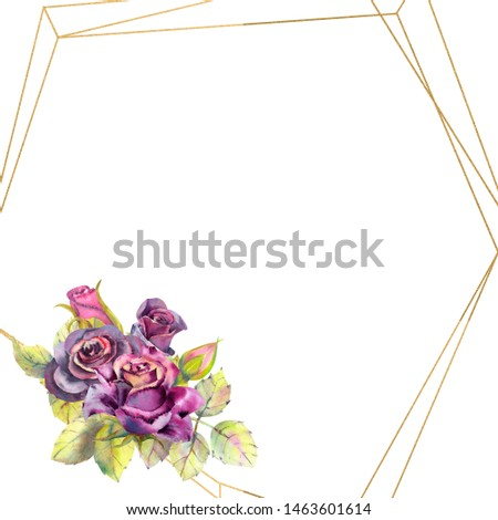 Flowers of dark roses, green leaves, composition in a geometric Golden frame . The concept of the wedding flowers. Flower poster, invitation. Watercolor compositions for the design of greeting cards