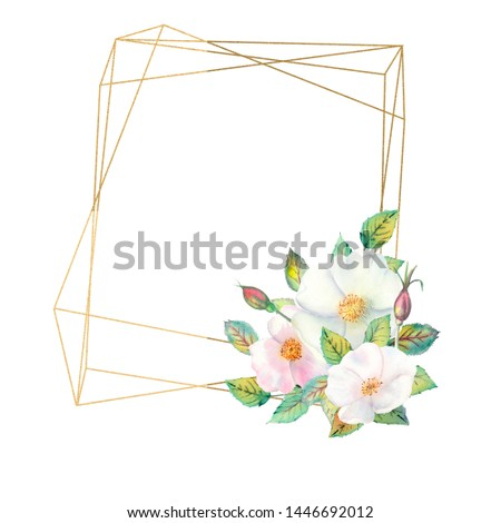 Flowers of white rose hips, red fruits, green leaves, the composition in a geometric Golden frame. Flower poster, invitation. Watercolor compositions for the design of greeting cards or invitations