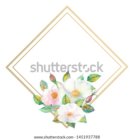 Flowers of white rose hips, red fruits, green leaves, the composition in a geometric Golden frame. Flower poster, invitation. Watercolor compositions for the design of greeting cards or invitations.