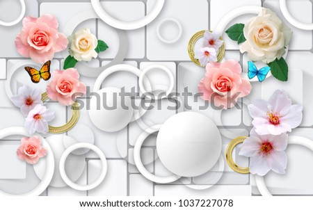 Flowers on a background of abstraction. 3D Wallpapers for walls. 3D rendering.