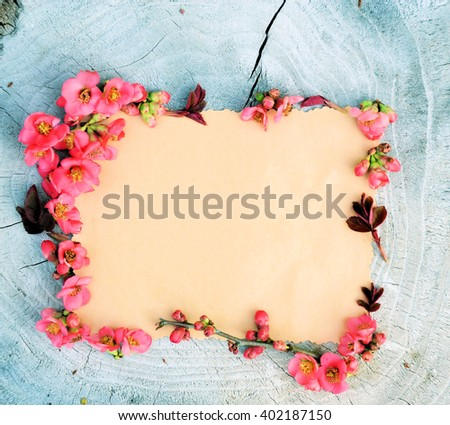 flowers on a wooden ,floral frame ,Spring or summer background