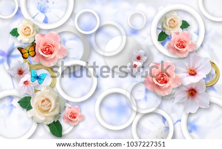 Flowers on abstract background with butterflies. 3D Wallpapers for walls. 3D rendering.