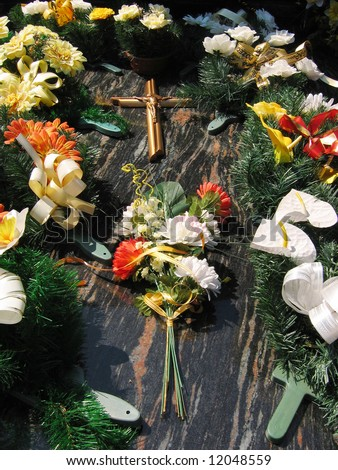 Flowers on gravestone
