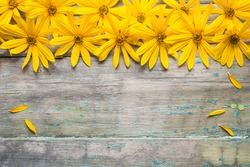 Flowers on old wooden background