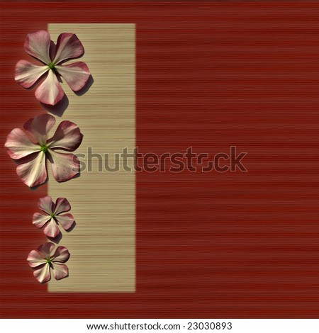 flowers on red and cream bamboo/grass background with menu bar