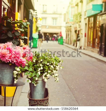 Flowers on street of Paris France