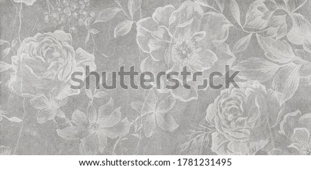 Flowers on the old white wall background, digital wall tiles or wallpaper design Foto stock ©