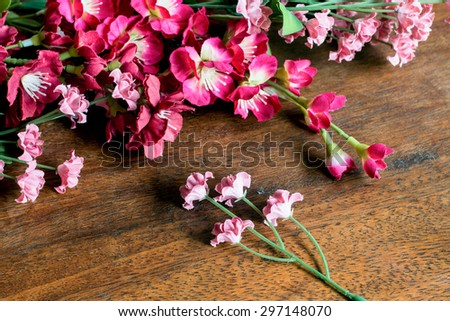 Flowers on Wooden Background. #297148070
