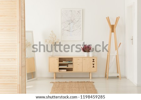 Flowers on wooden cupboard next to rack in white entrance hall interior with poster. Real photo #1198459285