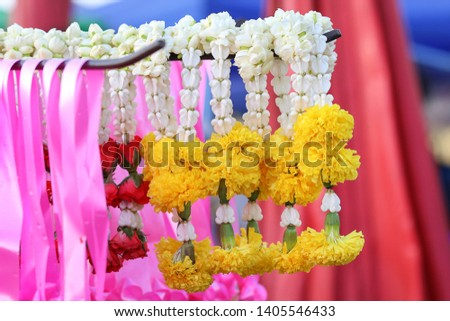 Flowers or garlands for religious activities, Jasmine garland in the market #1405546433