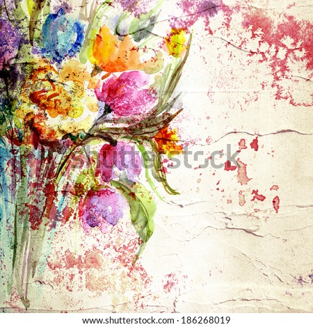 Flowers. Paint stucco background. Picture with floral bouquet. Painted canvas.