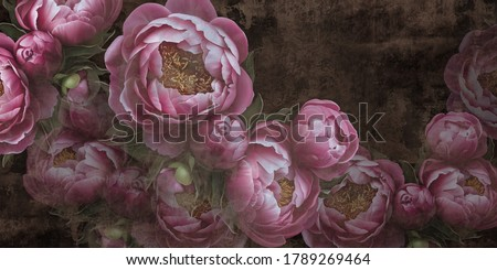 Flowers painted on a concrete wall. Peonies on the wall grunge texture. Photo wallpaper, wallpaper, mural, design for walls.