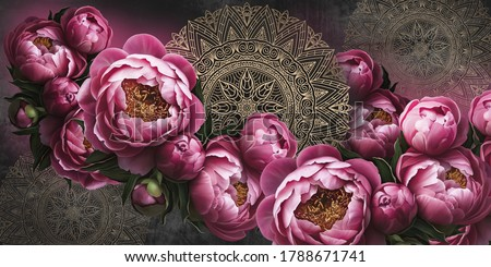 Flowers painted on a dark wall with patterns. Peonies on the wall grunge texture. Design for walls, photo wallpaper, wallpaper, cards, postcards, paintings.
