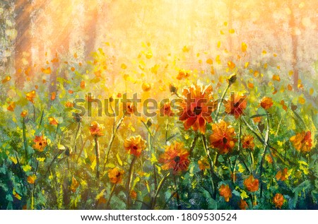 Flowers paintings monet painting claude impressionism paint landscape flower meadow oil