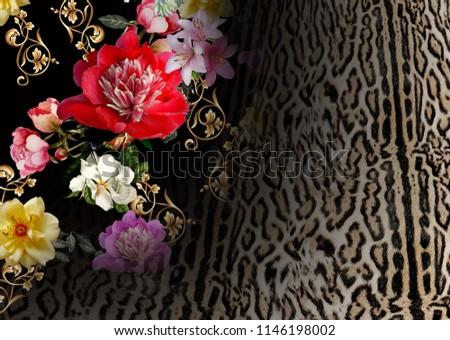 Flowers pattern with leopard pattern #1146198002