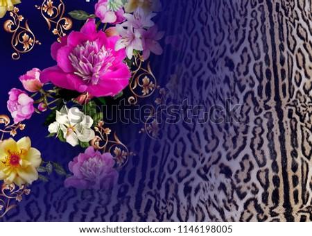 Flowers pattern with leopard pattern #1146198005