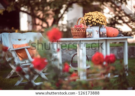 Flowers, pumpkins and apples in basket on garden table