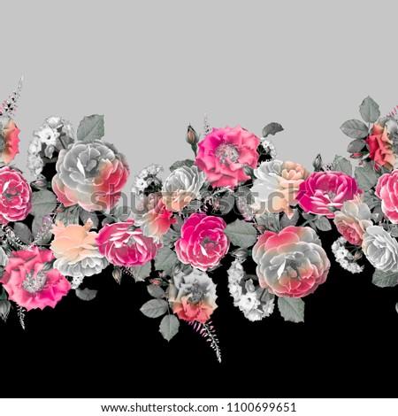 Flowers rose fashion fabric textile pattern design