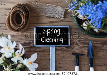 Flowers, Sign, Text Spring Cleaning #574073731