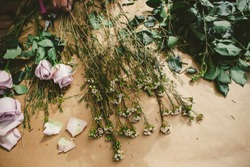 Flowers spread out on butcher paper