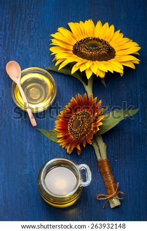 flowers sunflower and sunflower oil. still life