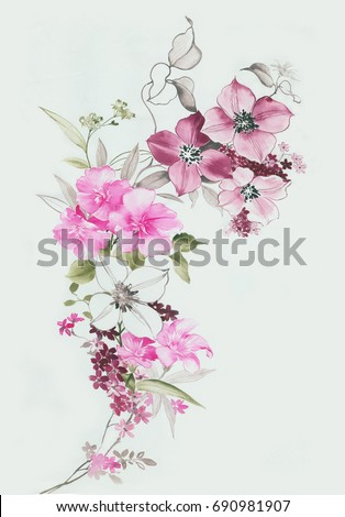 Flowers swaying in the wind, the leaves and flowers art design