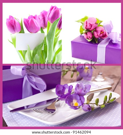 flowers, table setting and present for mothers day - stock photo