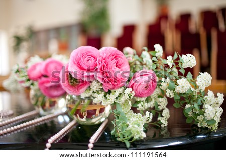 flowers - tables set for wedding