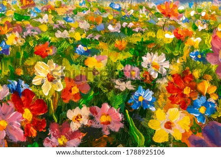 Flowers texture oil painting, Art Painted wildflowers Image color, handmade paint brush by artist's canvas, impressionism modern fine art