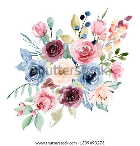 Flowers watercolor clip art. Pink, burgundy and indigo peonies. Floral summer arrangement for printing  invitations, greeting cards, wall art, stickers and other. Isolated on white. Hand painted.
