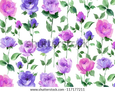 flowers watercolor floral rose seamless pattern