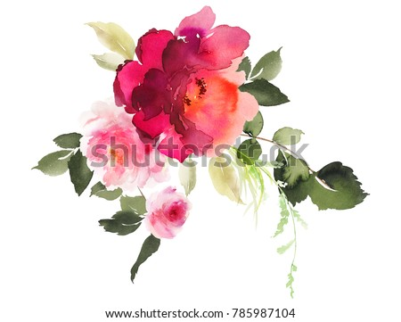 Flowers watercolor illustration. A tender bouquet on a white background.