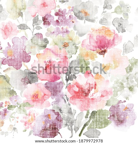 Flowers watercolor illustration,Decorative elegant luxury design.Vintage elements in baroque, rococo style.Design for cover, fabric, textile, wrapping paper