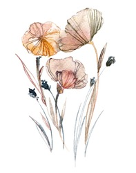 Flowers watercolor illustration in pastel colors. Elegant hand-painted composition.
