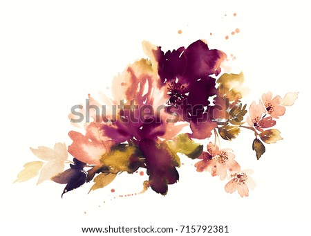 flowers watercolor illustration....